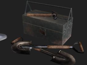 PBR-老旧工地工具 工兵铲 锤子 工具箱