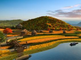 秋天 秋景 美丽的田野 , 茅草房,农田鸟瞰,油菜花田,小麦田