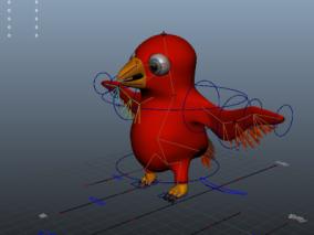 红色卡通小鸟