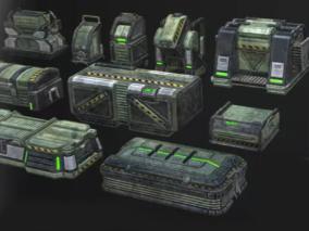 unity模型 高质量军事物品箱 带控制器动画 弹药箱