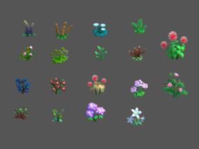 Q版植物、卡通植物、Q版花、卡通花、农田