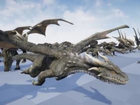 UE4 怪物集合 带绑定动画 老鹰 半马人 龙 狼 虚幻4