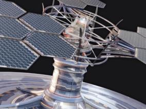 次时代科幻太空空间站太阳能设备