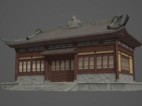古代特色护院墙房子3D模型