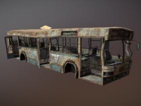 破旧报废公交车