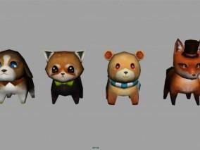 动物简模 可爱卡通形象 猫 狗 狐狸 小熊