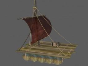 木筏 木排 小木船 逃难木筏 战争应急筏 船筏