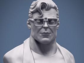 超人半身像3d雕塑