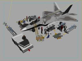 战斗机工作人员3d模型