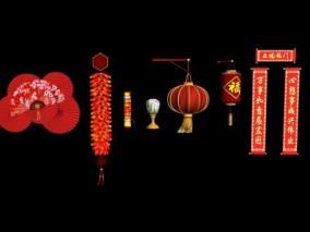 春节 对联 鞭炮烟花 灯笼 扇子