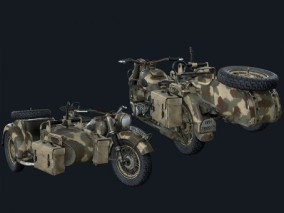 高清写实PBR三轮摩托车