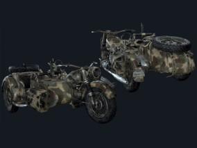 军用三轮摩托车3d模型
