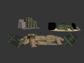 次世代军事部件 哨塔 铁丝网 各种沙包 障碍 军用用品 军事用品