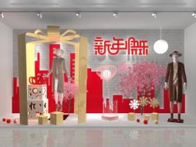 新年简约商场橱窗设计3d模型