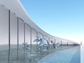 现代海豚雕塑