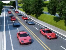 现代跑车城市道路