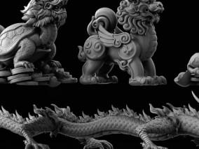 中国风复古神兽高模雕塑