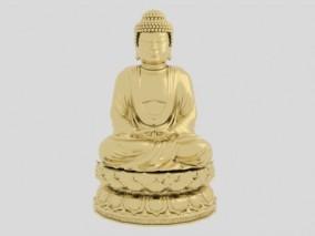 西天佛祖金属雕像3d模型