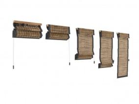 折叠帘竹卷帘3d模型