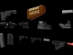 绝地求生枪械配件3d模型