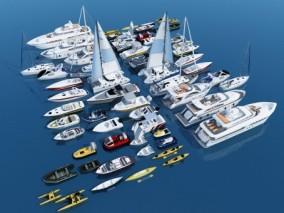 现代游船 快艇 帆船 划艇3d模型
