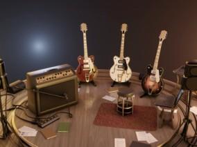 吉他乐器舞台综合场景模型