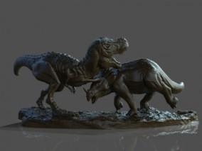 恐龙搏斗3D打印模型