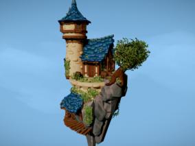 悬浮梦幻房子CG模型