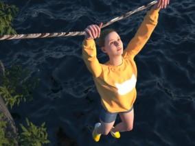 C4D海上攀爬美女