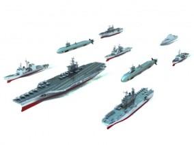 航空母舰组合3D模型