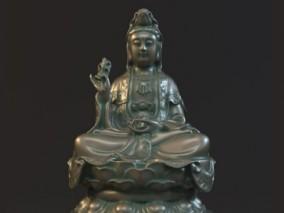 神仙财神观音组合3D雕塑模型