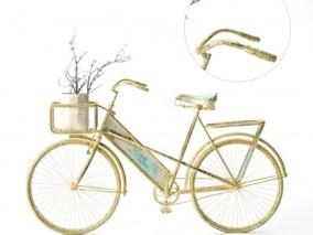 自行车装饰车 金色脚踏车 cg模型
