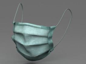 写实医用口罩 消毒无菌口罩 绿色医用外科口罩 防流感防病毒口罩 防疫医疗防疫用品 3d模型