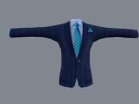 写实商务男装 西服马甲 蓝色男人西装套装 正式服饰 衬衫领带 3d模型