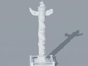 天安门华表龙图腾雕塑3D模型