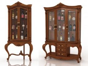 欧式木质酒柜3d模型