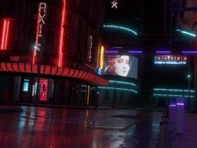 赛博朋克街道   夜景城市  3d模型