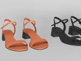 女士凉鞋 鞋子3d模型