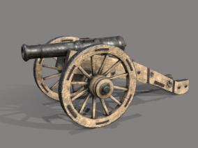 古代清朝大炮铜炮CG模型