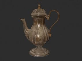 PBR次世代 古董水壶 茶壶 古玩 紫金壶 文物 古代水壶 酒壶 茶具 金壶 酒具 写实 简模
