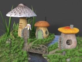 卡通蘑菇房子CG模型