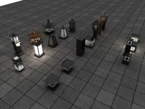 壁灯 中式落地灯 古代路灯 路灯 中式路灯 中式庭院灯 草坪灯 景观灯 灯 3d模型