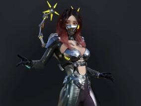 赛博朋克 女战士 3d模型