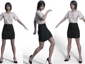 性感女秘书三维模型含材质贴图 3d模型