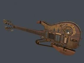 蒸汽朋克吉他乐器CG模型