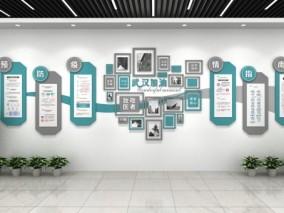 武汉加油 预防指南疫情 医疗文化墙 3d模型