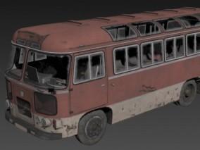 废弃巴士 大巴车 烧毁汽车 3d模型