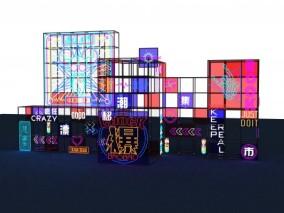 商城美陈霓虹灯设计3D模型