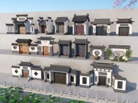 新中式大门组合3D模型