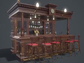 酒吧吧台欧式酒柜古典欧式酒吧CG模型